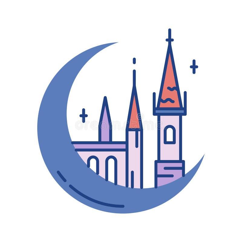 Slottlinje färgsymbol royaltyfri illustrationer