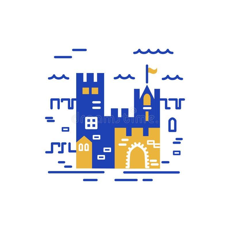 Slottlogodesign royaltyfri illustrationer
