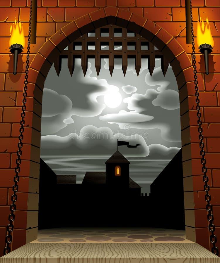 Slottport royaltyfri illustrationer