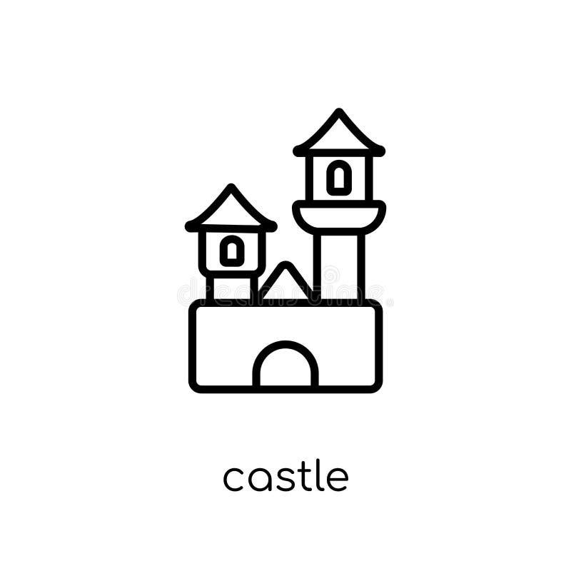 Slottsymbol Moderiktig modern plan linjär vektorslottsymbol på whi vektor illustrationer