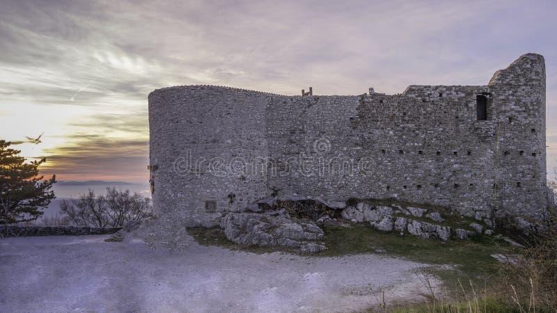 Slottvägg med tornbakgrund fotografering för bildbyråer