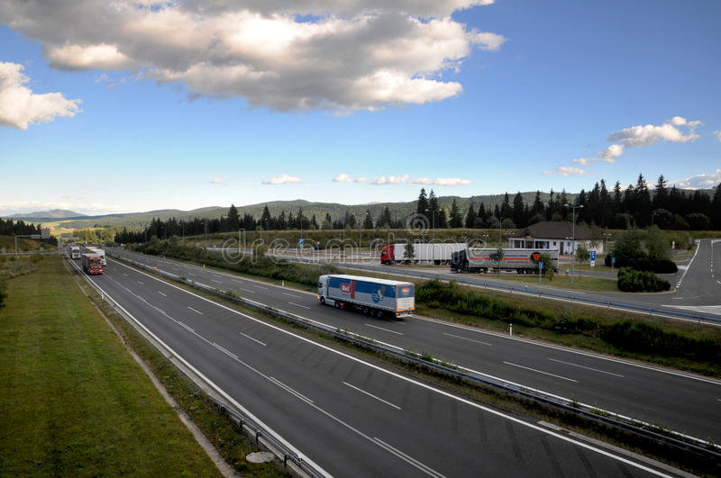 Slovac autobahn. Details of Slovac autobahn receding into distance royalty free stock images