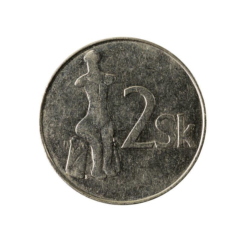 2 slovak koruna coin 1995 obverse. Isolated on white background stock photography