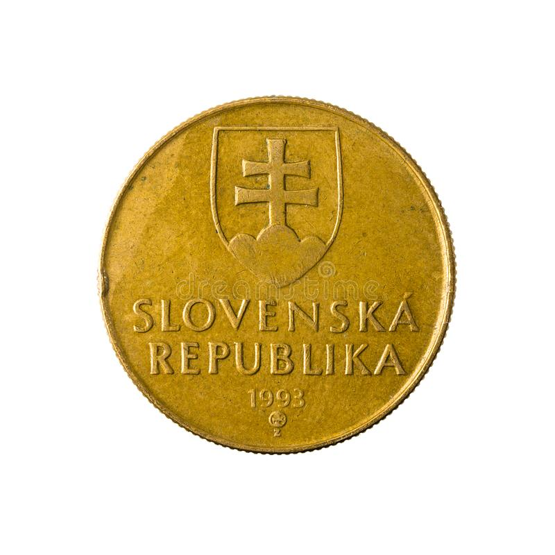 1 slovak koruna coin 1993 reverse. Isolated on white background royalty free stock images