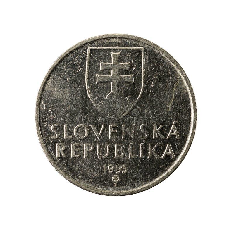 2 slovak koruna coin 1995 reverse. Isolated on white background stock images