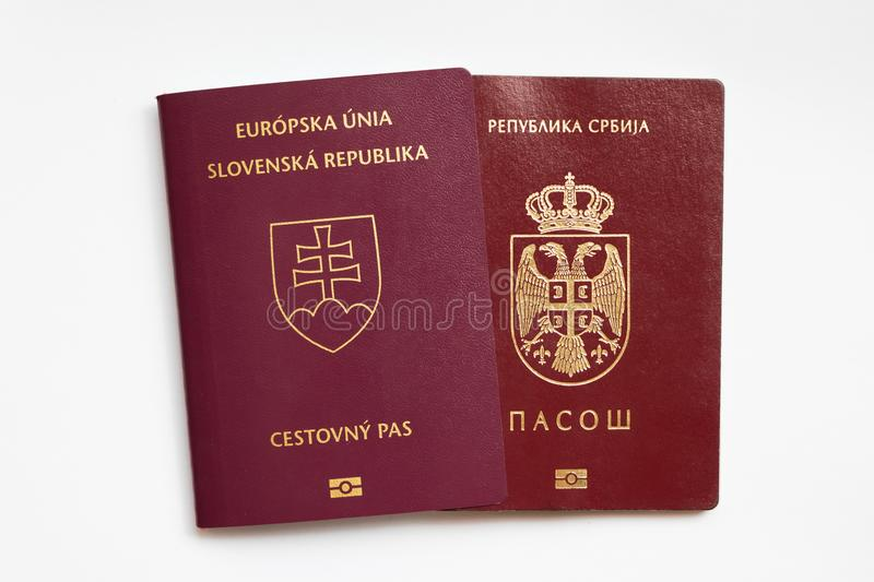 Slovak and Serbian passport on white background royalty free stock image