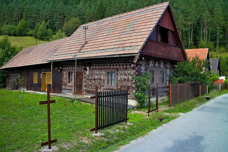 Slovak village Cicmany - famous distinctive village with decorated wooden houses with ornaments and inherent folklore stock images