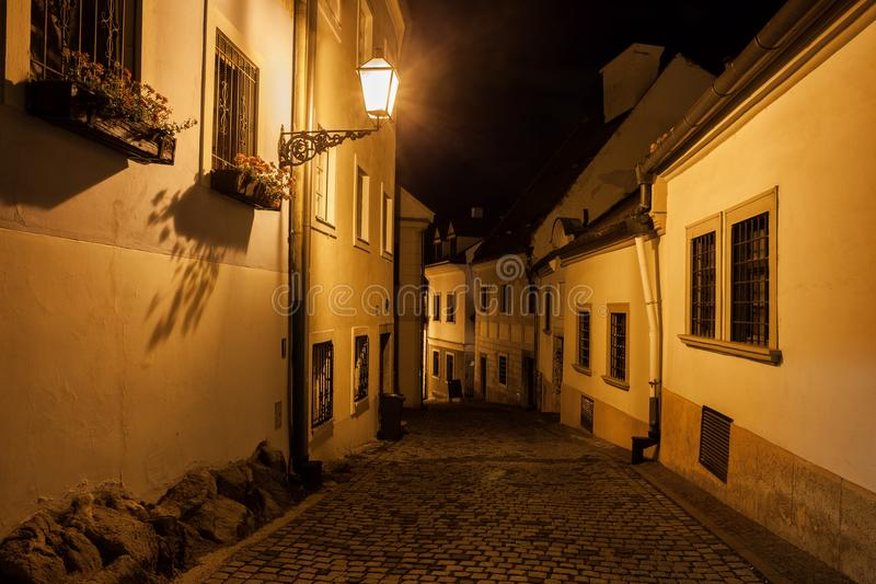 Street in Old Town of Bratislava at Night stock images