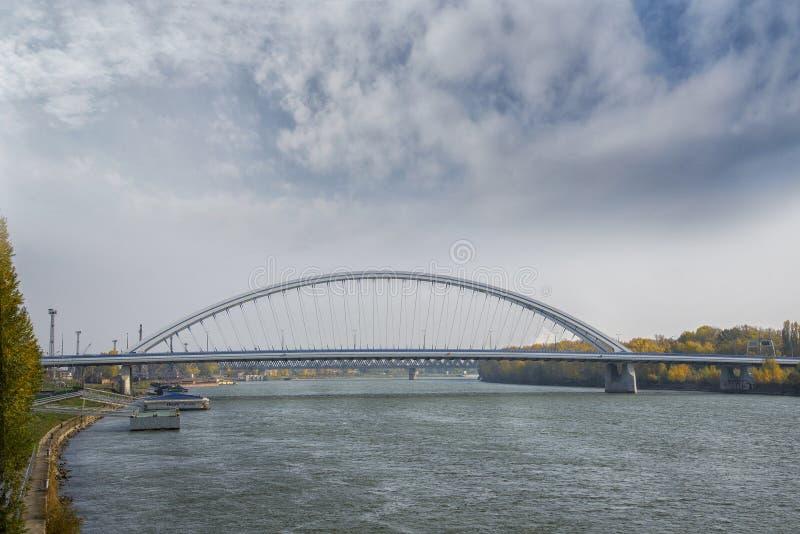 Slovakia, Bratislava - November 5th, 2017. Danube river with Appolo bridge. Slovakia, Bratislava - November 5th, 2017. Danube river with Apollo bridge royalty free stock images