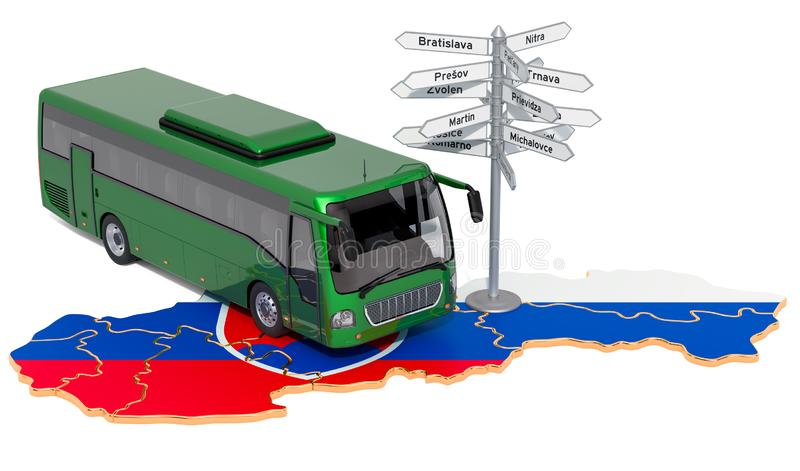 Slovakia Bus Tours concept. 3D rendering. Isolated on white background royalty free illustration