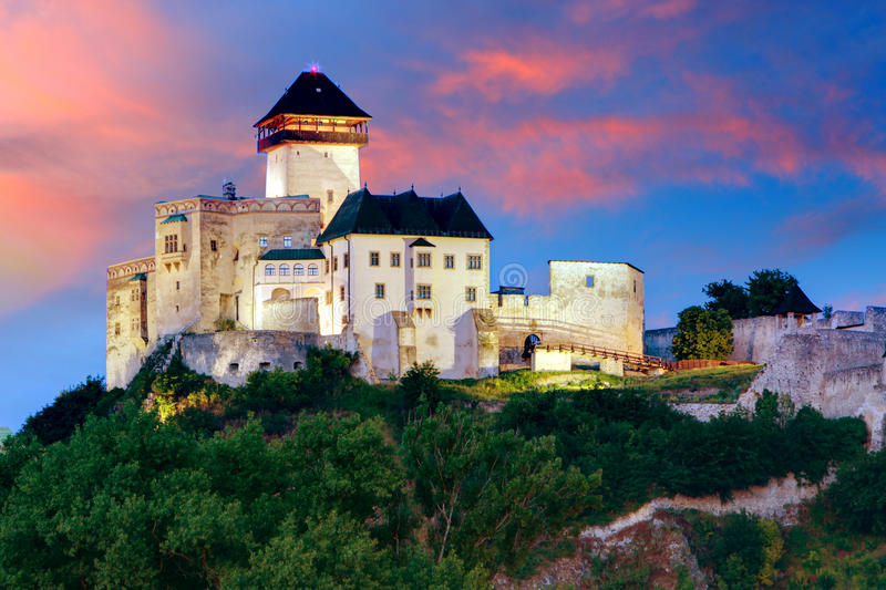 Slovakia Castle - Trencin at sunrise royalty free stock image