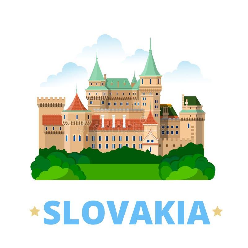 Slovakia country design template Flat cartoon styl. Slovakia country fridge magnet design template. Flat cartoon style historic sight showplace web site vector stock illustration