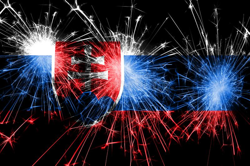 Slovakia fireworks sparkling flag. New Year, Christmas and National day concept stock illustration