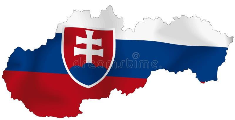 Slovakia flag. Vector illustration of a map and flag from Slovakia
