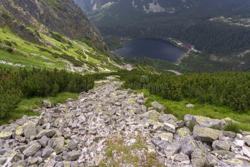 slovakia höga tatras Popradske Pleso bergsjö och omgeende maxima arkivfoto
