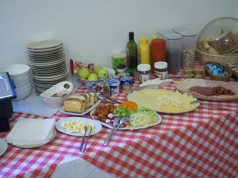 Slovakia, High Tatra mountain, Stary Smokovec, September 14, 2018: Breakfest buffet table with ham, cheese, bread, and sweet, serv stock photos