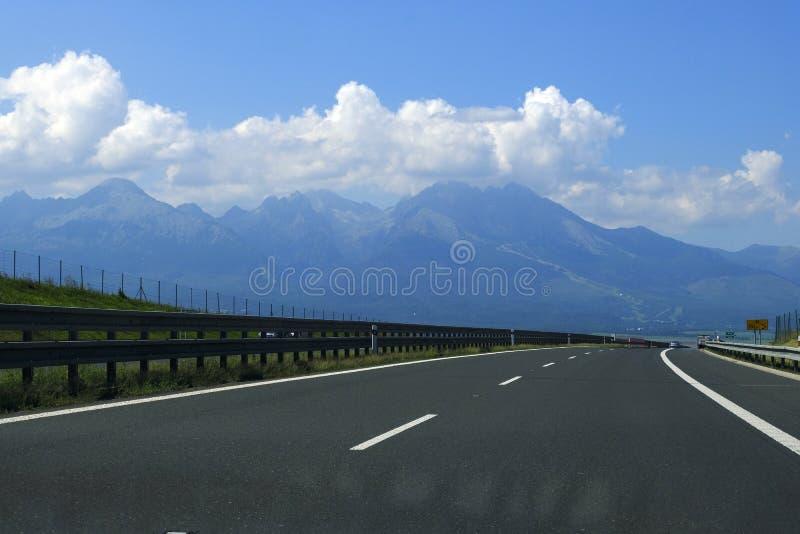 Slovakia highway, High Tatra Mountains, Vysoke Tatry royalty free stock photo