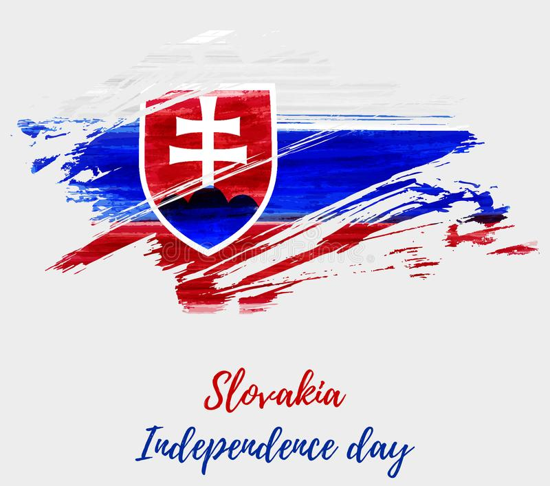 Slovakia Independence day grunge flag background vector illustration
