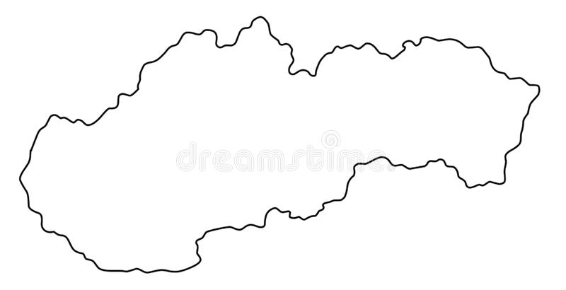 Slovakia map outline vector illustration. Isolated on white background royalty free illustration