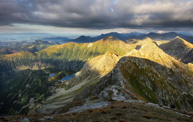Slovakia mountain landscape at dramatic sunset, Panorama of Rohace Tatras.  royalty free stock photography
