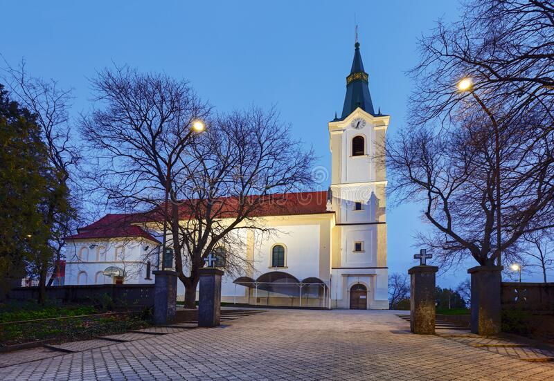 Slovakia at night, Church in Senec royalty free stock photo