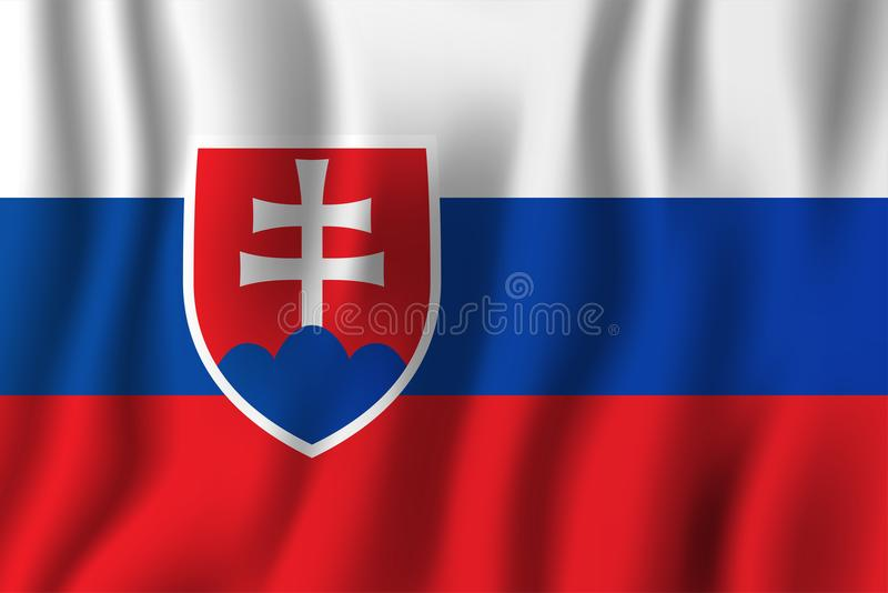 Slovakia realistic waving flag vector illustration. National country background symbol. Independence day vector illustration