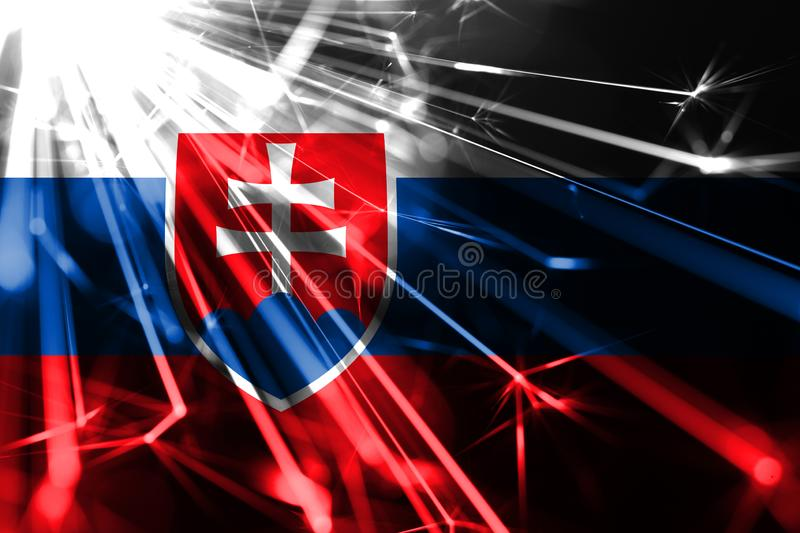 Slovakia shining fireworks sparkling flag. New Year 2019 and Christmas futuristic shiny party concept flag. royalty free illustration