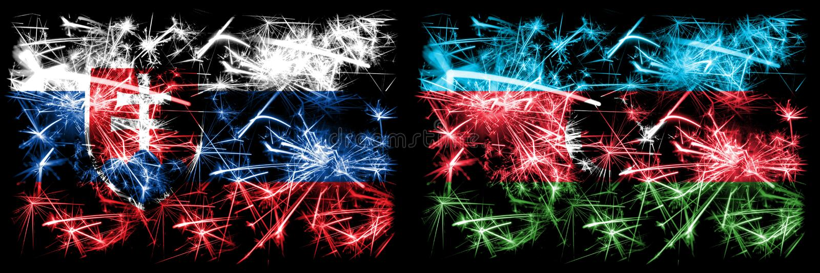 Slovakia, Slovakian, Azerbaijan sparkling fireworks concept and idea flags royalty free illustration