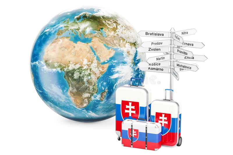 Slovakia travel concept. Suitcases with signpost and Earth Globe. 3D vector illustration