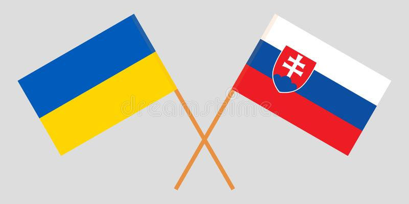 Slovakia and Ukraine. The Slovakian and Ukrainian flags. Official colors. Correct proportion. Vector. Illustration royalty free illustration