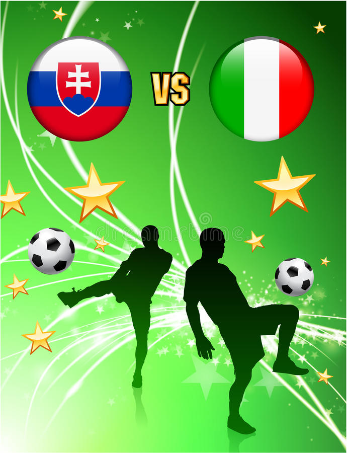 Slovakia versus Italy on Abstract Green Stars Background royalty free illustration