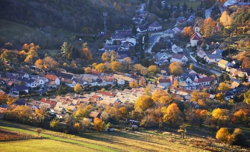 Slovakia village at autumn sunset landscape with house - Plavecke Podhradie.  stock photo