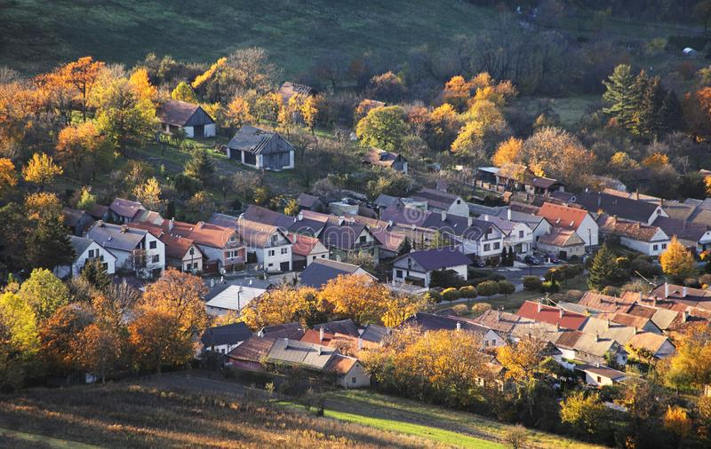 Slovakia village at autumn sunset landscape with house - Plavecke Podhradie.  royalty free stock photography