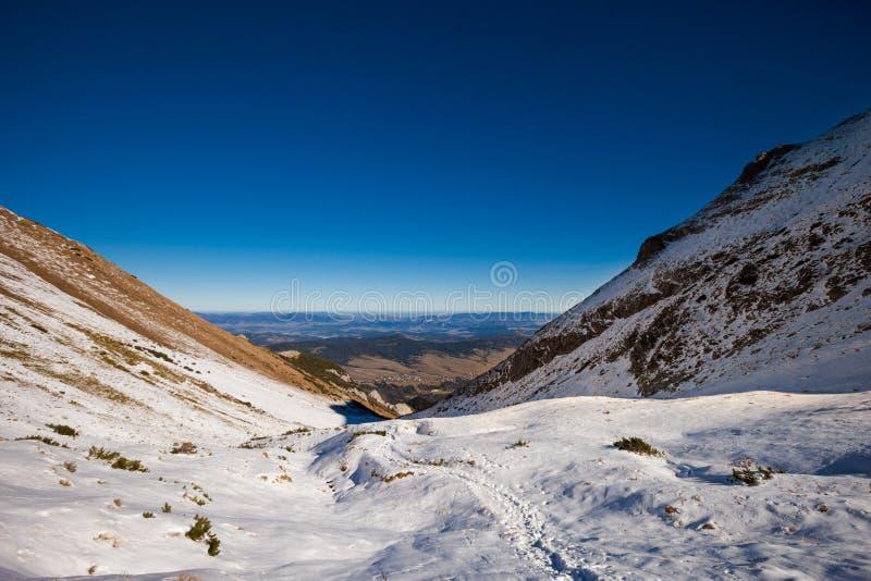 Slovakian Belianske Tatry mountains landscape. Beautiful slovakian Belianske Tatry mountains. Beautiful sunny panorama - Siroka dolina - wide valley in snow stock images