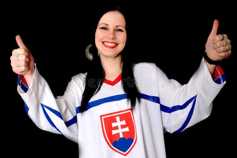 Slovakian Fan. Slovakian Hockey Fan Studio Portrait royalty free stock photo