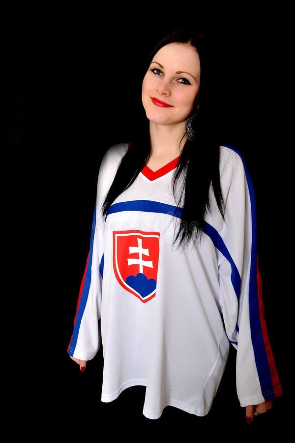 Slovakian Fan. Slovakian Hockey Fan Studio Portrait stock photography