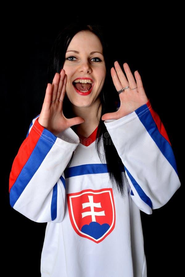 Slovakian Fan. Slovakian Hockey Fan Studio Portrait stock image