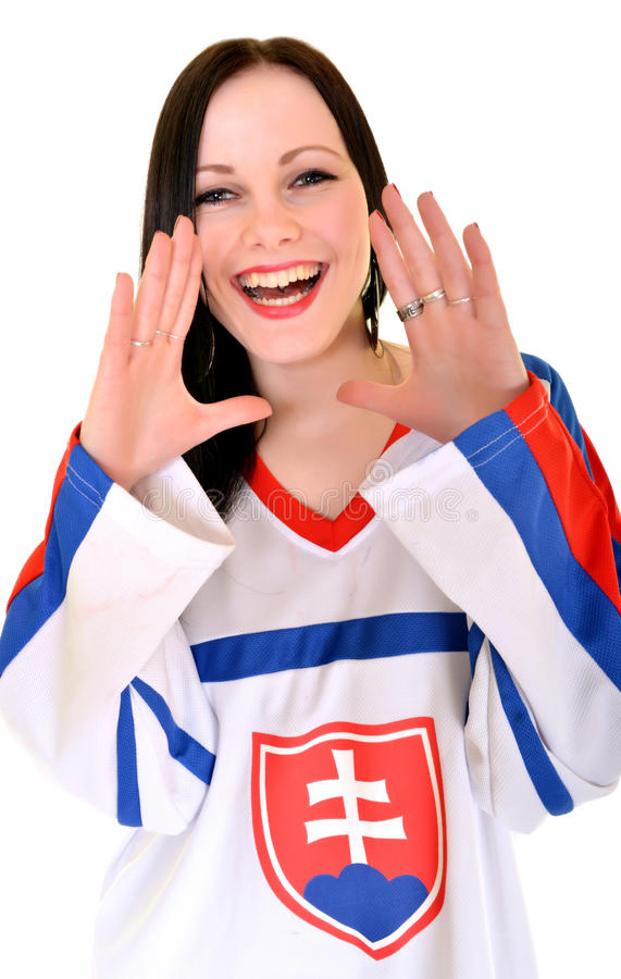 Slovakian Fan. Slovakian Hockey Fan Studio Portrait stock photo