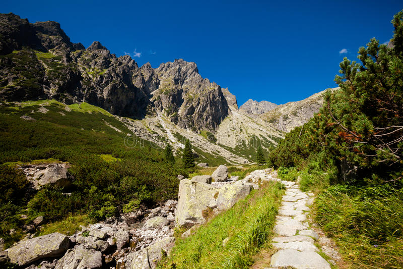 Slovakian Spiski lakes Tatry mountains. Beautiful five spiskie lakes valley - in slovakian Tatry mountains. Beautiful panorama - Chata Teryho, kotlina Piatich stock images