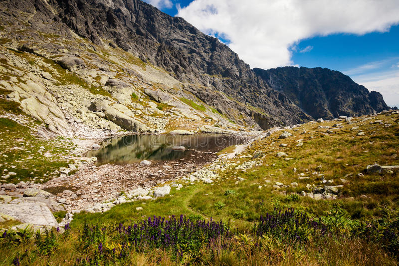 Slovakian Spiski lakes Tatry mountains. Beautiful five spiskie lakes valley - in slovakian Tatry mountains. Beautiful panorama - Chata Teryho, kotlina Piatich stock photography