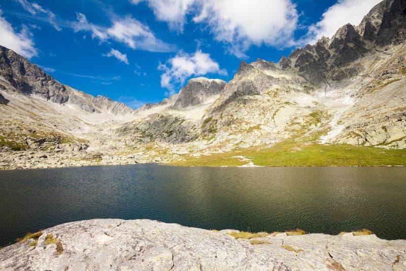Slovakian Spiski lakes Tatry mountains. Beautiful five spiskie lakes valley - in slovakian Tatry mountains. Beautiful panorama - Chata Teryho, kotlina Piatich royalty free stock image