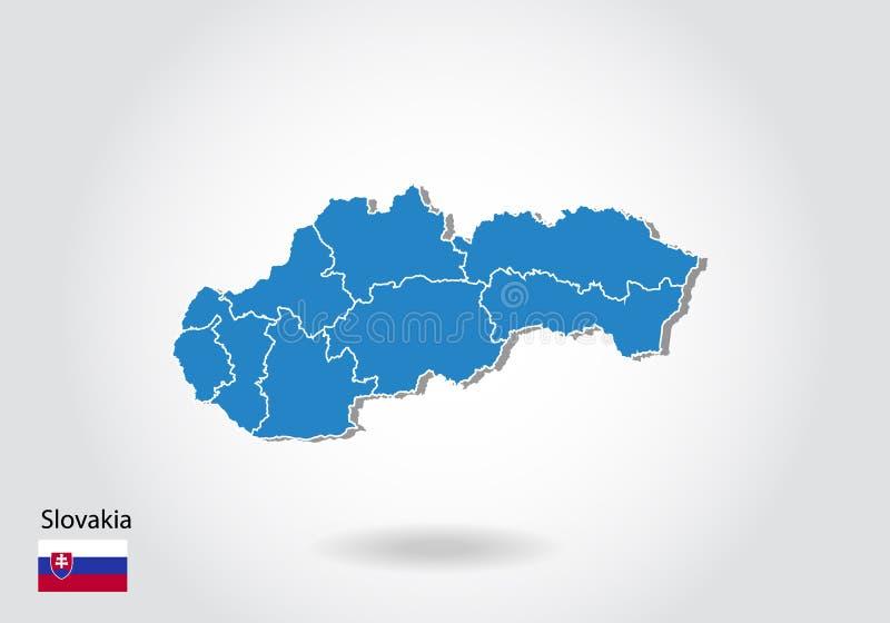 Slovakien översiktsdesign med stil 3D Blå Slovakien översikt och nationsflagga Enkel vektoröversikt med konturen, form, översikt, stock illustrationer