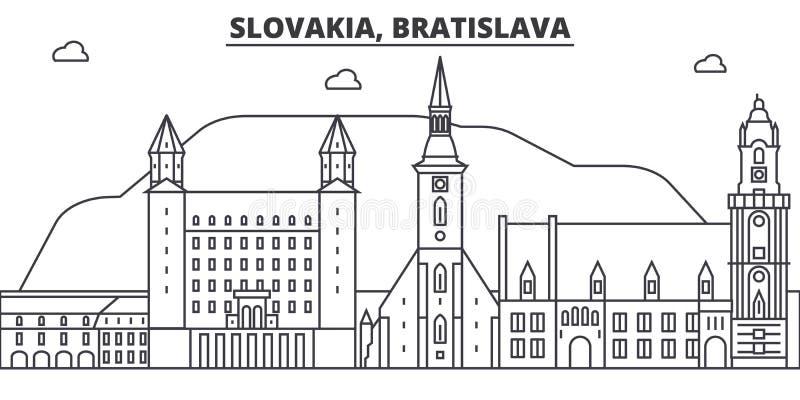 Slovakien Bratislava arkitekturlinje horisontillustration Linjär vektorcityscape med berömda gränsmärken, stad siktar royaltyfri illustrationer