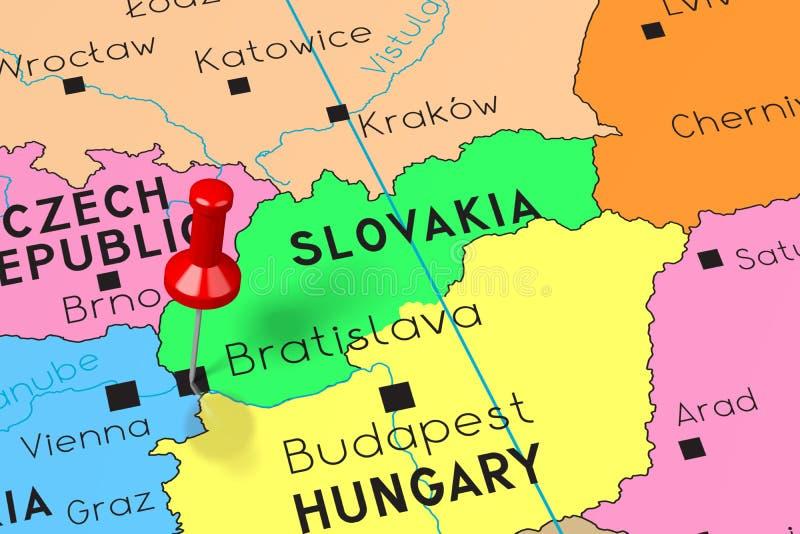 Slovakien Bratislava - huvudstad som klämmas fast på politisk översikt royaltyfri illustrationer