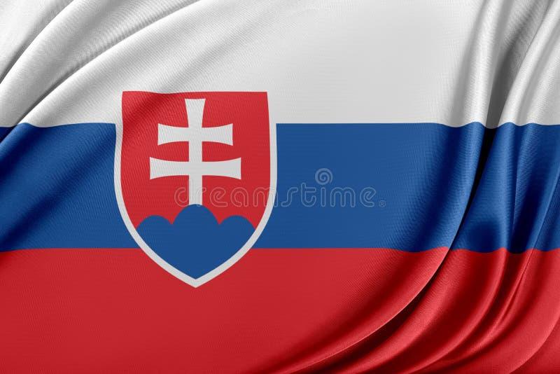 Slovakien flagga med en glansig siden- textur royaltyfri illustrationer