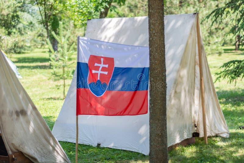 Slovakien flagga och lägertält i en skog i natur på en solig sommardag arkivbild