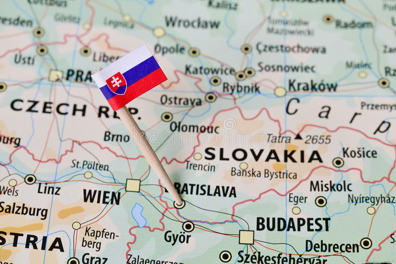 Slovakien flagga på översikt arkivbilder