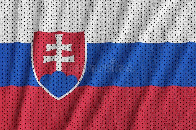 Slovakien flagga som skrivs ut på en fabri för ingrepp för polyesternylonsportswear royaltyfri bild