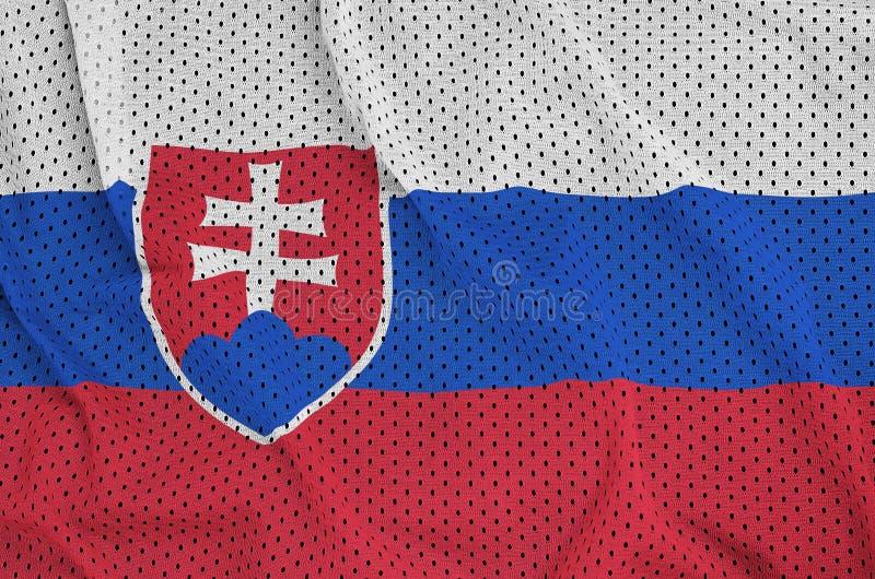 Slovakien flagga som skrivs ut på en fabri för ingrepp för polyesternylonsportswear arkivbilder