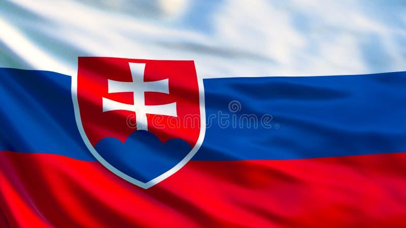 Slovakien flagga Vinkande flagga av den Slovakien 3d illustrationen stock illustrationer